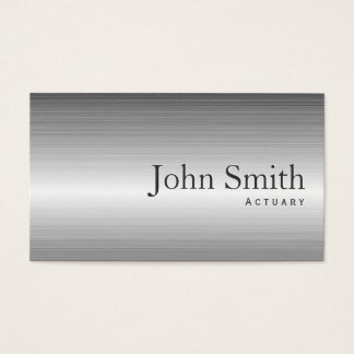 Plain Steel Metal Actuary Business Card