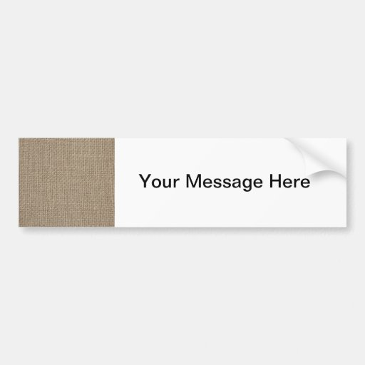 Plain tan burlap background template bumper sticker