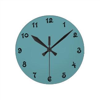 Plain Teal Round Clock