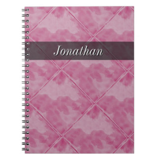 Plain Tile Ceramic Surface Pink any Text Notebook