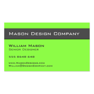 Plain Two Tone Lime and Gray Stylish Card Pack Of Standard Business Cards