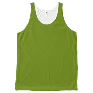 Plain Watermelon Dark Green all over tank top All-Over Print Tank Top