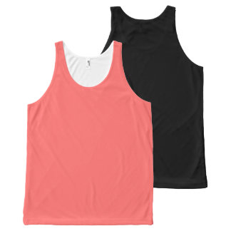 Plain Watermelon Pink all over black back All-Over Print Tank Top
