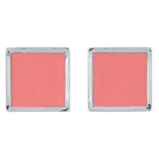 Plain Watermelon Pink cufflinks Silver Finish Cufflinks
