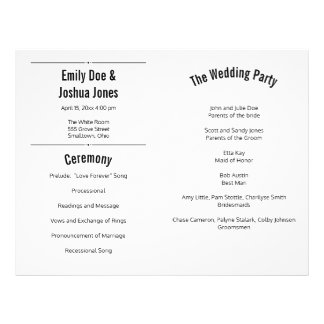 Plain Wedding Ceremony Program Custom Template Flyer
