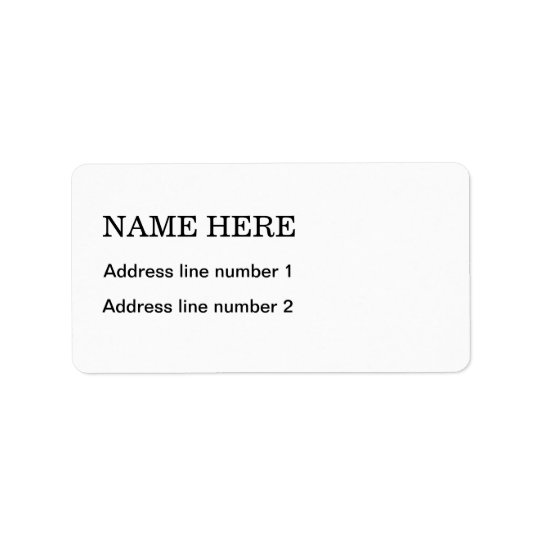 Plain white address label