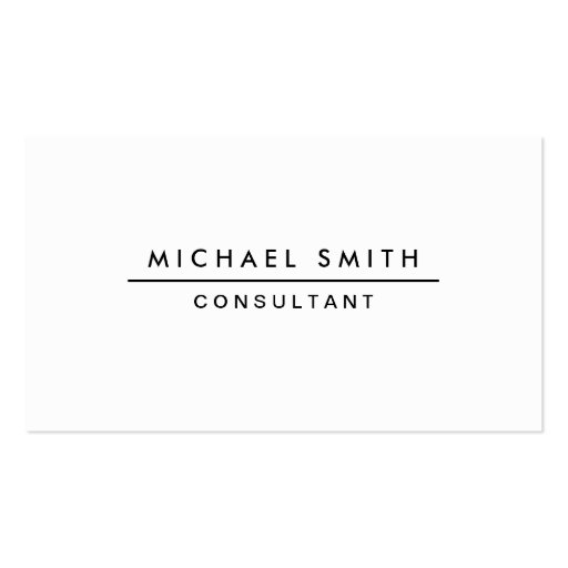 Plain White Professional Elegant Modern Simple Business Cards