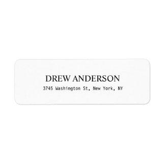 Plain White Professional Return Address Label