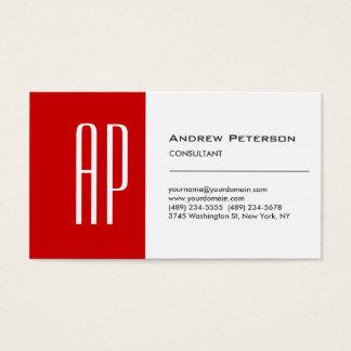 Plain White Red Stripe Monogram Business Card