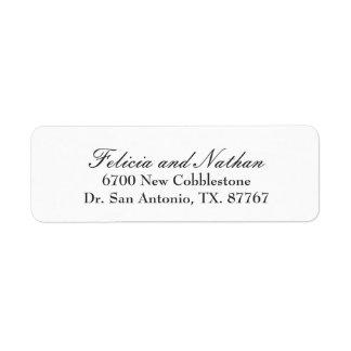 Plain White Wedding Return Address Label