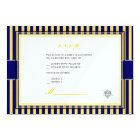 Plain yellow+navy blue stripes rsvp invitations