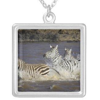 Plains Zebra (Equus quagga) running in water, Square Pendant Necklace