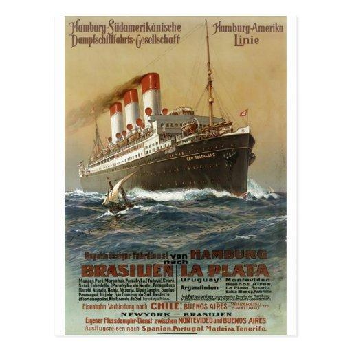 Plakat der Hamburg 1899 - Cruise Ship Liner Postcards
