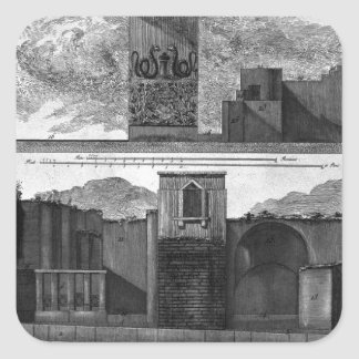 Plan and elevation of the second tavern square sticker