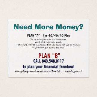 Plan B Sizzle Card
