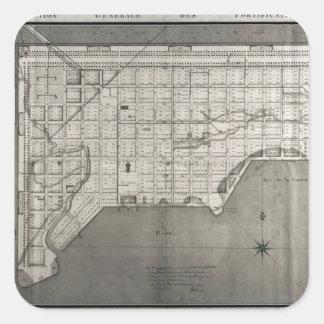 Plan Directeur de la Ville des Cayes, 1789 Square Stickers