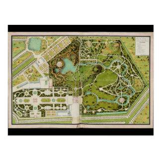 Plan du jardin et chateau de la Reine Postcard