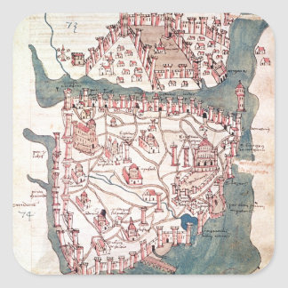 Plan of Constantinople Square Stickers