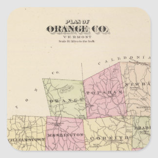 Plan of Orange County in Vermont Square Sticker