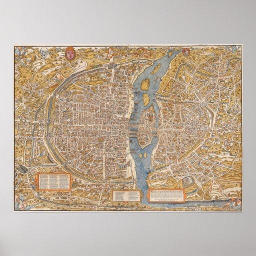 Plan of Paris by Truschet et Hoyau Circa 1550 Posters