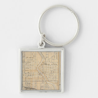 Plan of South Bend with Mishawaka Silver-Colored Square Key Ring