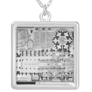 Plan of the Abbey Church of St. Denis, 1705 Silver Plated Necklace