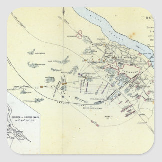 Plan of the Battle of Cawnpoor Square Stickers