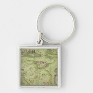Plan of the Battle of Mollwitz Silver-Colored Square Key Ring