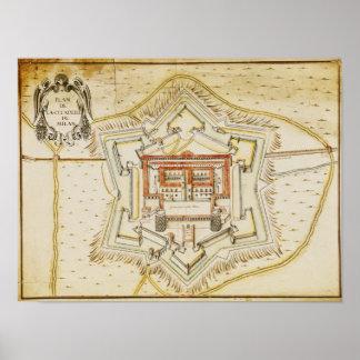 Plan of the citadel of Milan Poster