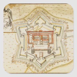 Plan of the citadel of Milan Square Stickers