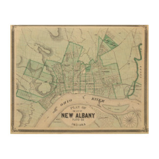 Plan of the City of New Albany, Floyd Co, Indiana Wood Canvases