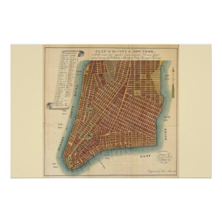 Plan of the City of New York - 1807 Bridges Map Poster