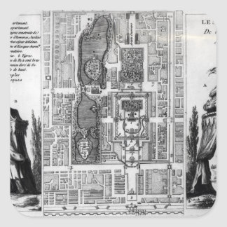 Plan of the Gardens of the Emperor of Peking, from Sticker