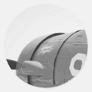 Plane 98 in Black and White Round Sticker