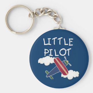 Plane and Clouds Little Pilot Basic Round Button Key Ring