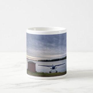 Plane at sunset basic white mug