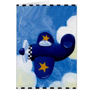 plane flying greeting card