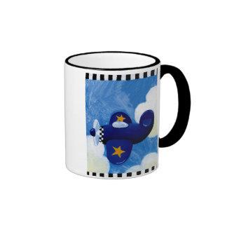 plane flying ringer mug