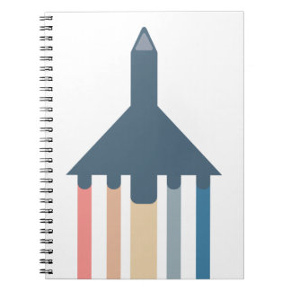 Plane flying with colored trails notebook