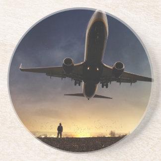 Plane illustration sandstone coaster