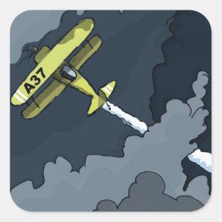 plane in the clouds square sticker