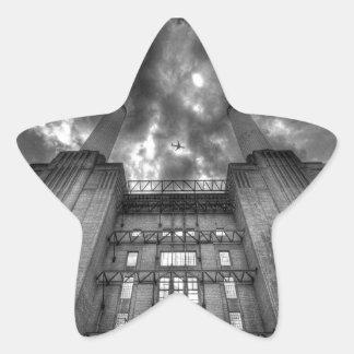 Plane over Battersea Power Station, London Star Sticker