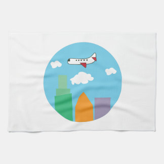 Plane Over City Hand Towels