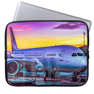 Plane Parked at Barajas Airport, Madrid, Spain Laptop Sleeve