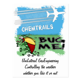 Plane spraying chemtrails on terrified insect postcard