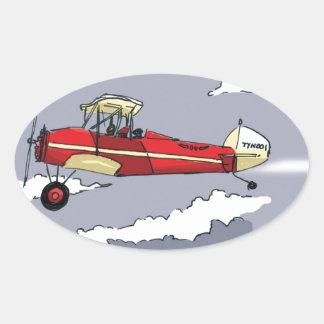 plane oval stickers
