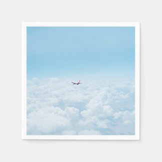 Plane Themed, A Airplane Flies In Blue Skies Above Disposable Napkin
