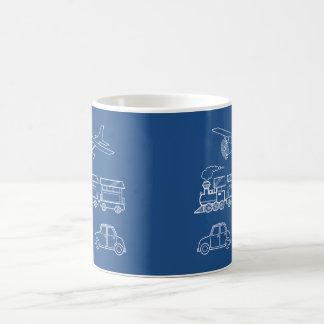 Plane, Train and Car Design ~ editable background Basic White Mug