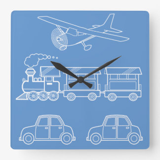 Plane, Train and Car Design ~ editable background Clock