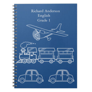 Plane, Train and Car Design ~ editable background Note Book